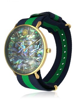 PACIFIC PEARLS GALÁPAGOS COLLECTION 18K Yellow Gold Abalone Watch with Rainforest NATO Strap
