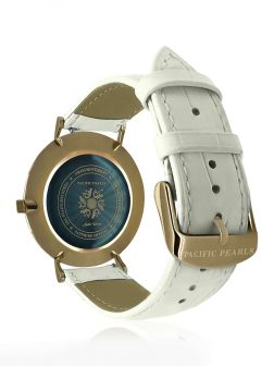 PACIFIC PEARLS GALÁPAGOS COLLECTION 18K Yellow Gold Abalone Watch with White Crocodile Leather Strap