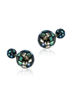 PACIFIC PEARLS GALÁPAGOS COLLECTION 14mm & 8mm Faceted Abalone Reversible Stud Earrings
