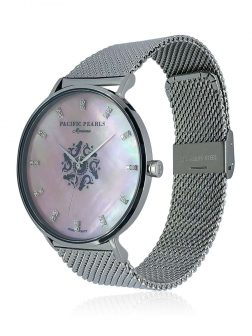 MARIA-THERESA REEF COLLECTION Mariana Diamond Encrusted Pink South Sea Mother-of-Pearl Watch with Mesh Bracelet