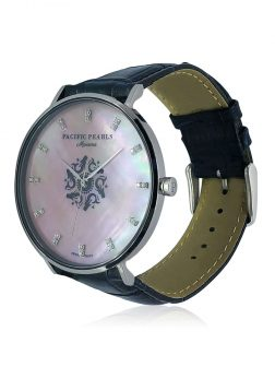 MARIA-THERESA REEF COLLECTION Mariana Diamond Encrusted Pink South Sea Mother-of-Pearl Watch with Pacific Blue Crocodile Leather Strap