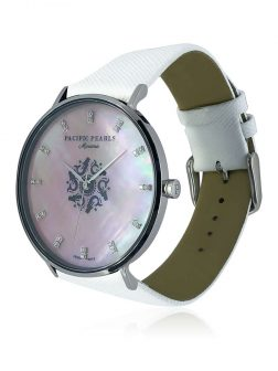 MARIA-THERESA REEF COLLECTION Mariana Diamond Encrusted Pink South Sea Mother-of-Pearl Watch with White Saffiano Leather Strap