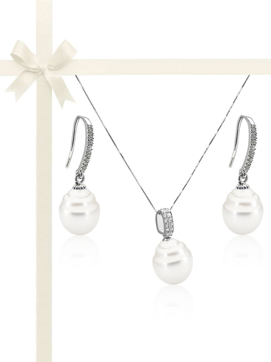 SOUTH SEA COLLECTION 11-13mm Australian South Sea Diamond Drop Pearl Gift Set