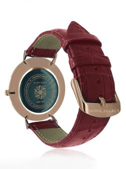 SOUTH SEA COLLECTION Ortelius 18K Rose Gold South Sea Mother-of-Pearl Watch with Crocodile Leather Strap