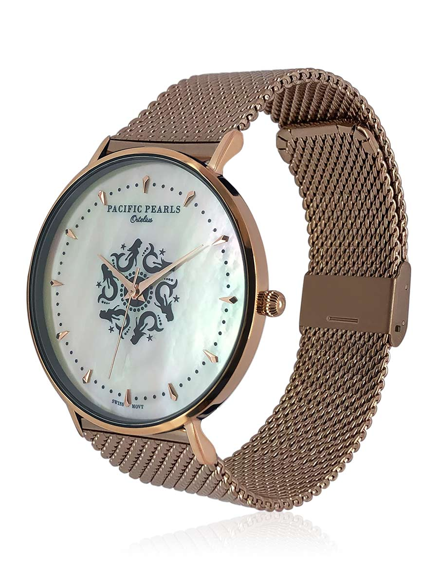 SOUTH SEA COLLECTION Ortelius 18K Rose Gold South Sea Mother-of-Pearl Watch with Mesh Bracelet