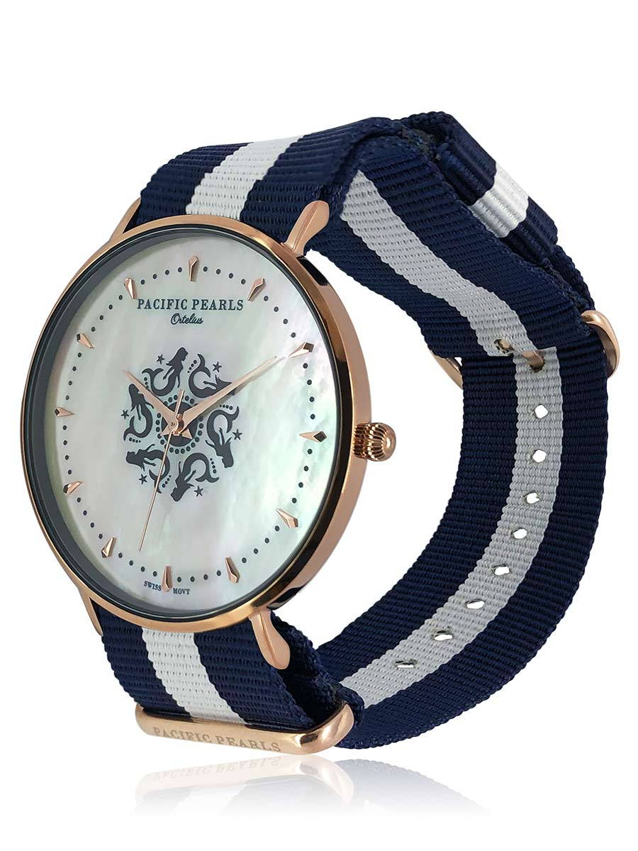 SOUTH SEA COLLECTION Ortelius 18K Rose Gold South Sea Mother-of-Pearl Watch with Nautical NATO Strap