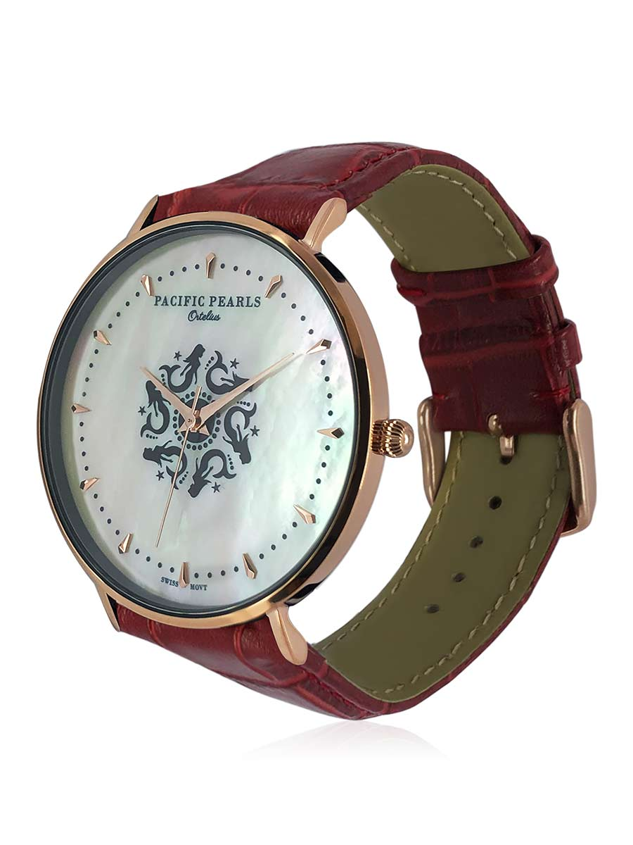 SOUTH SEA COLLECTION Ortelius 18K Rose Gold South Sea Mother-of-Pearl Watch with Red Crocodile Leather Strap