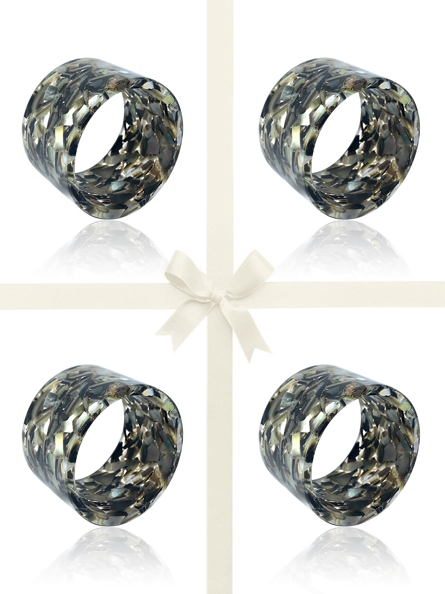 NOUVELLE-CALÉDONIE COLLECTION Black South Sea Mother-of-Pearl Gift Set of 4 Napkin Rings