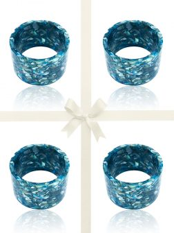 NOUVELLE-CALÉDONIE COLLECTION Blue Abalone Mother-of-Pearl Gift Set of 4 Napkin Rings