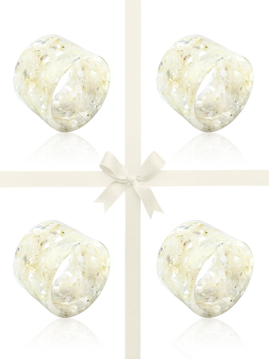NOUVELLE-CALÉDONIE COLLECTION White South Sea Mother-of-Pearl Gift Set of 4 Napkin Rings