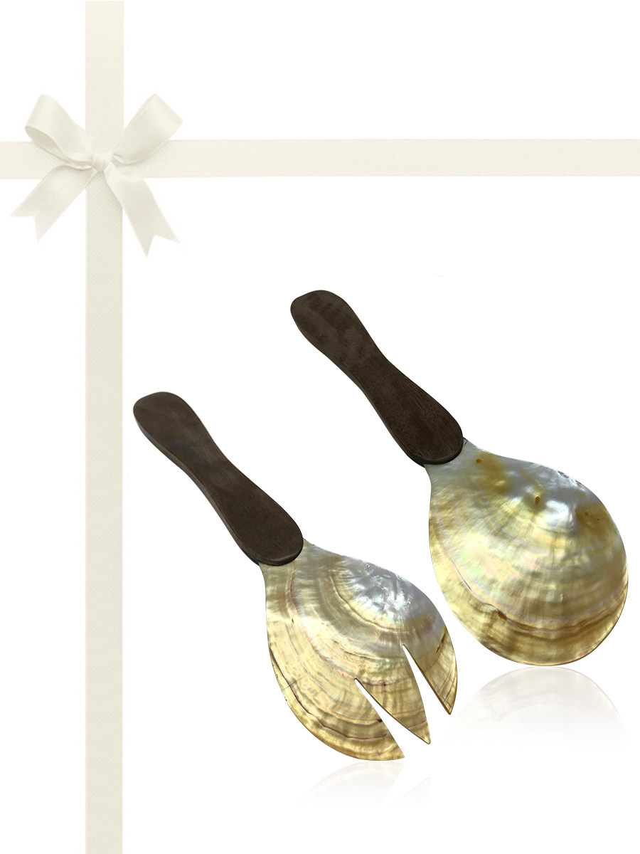 SOUTH SEA COLLECTION Golden South Sea Oyster Salad Server Gift Set