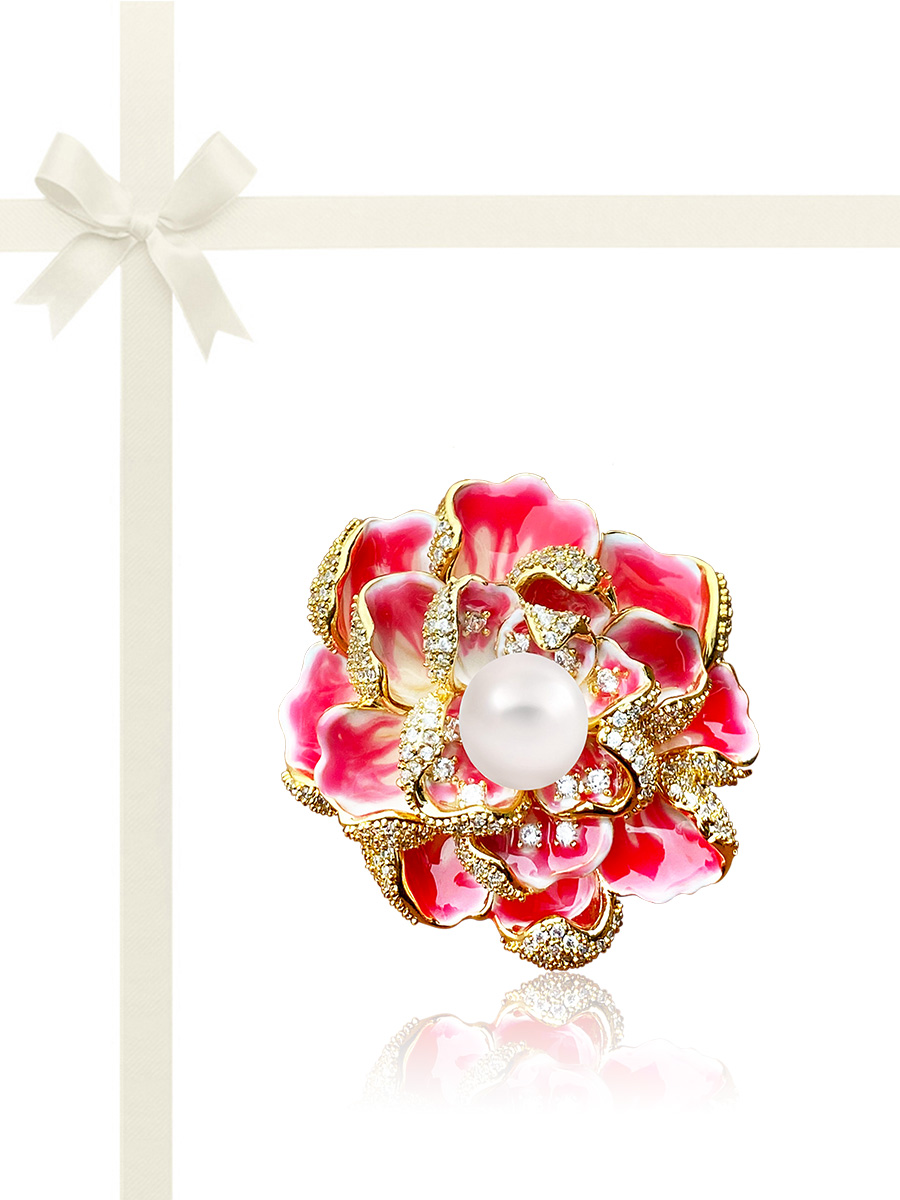 ROSE ATOLL COLLECTION Flamingo Rose Diamond Encrusted 18K Gold Pearl Brooch & Pendant Gift Set