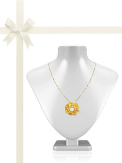 ROSE ATOLL COLLECTION Medallion Rose Diamond Encrusted Pearl Brooch & Pendant Gift Set