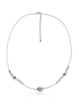 RAINBOW REEF COLLECTION Mariposa Swarovski Encrusted Silver-Gray Pearl Necklace