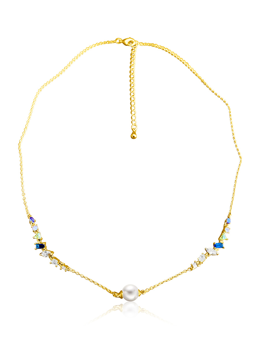 RAINBOW REEF COLLECTION Mariposa Swarovski Encrusted White Pearl Necklace