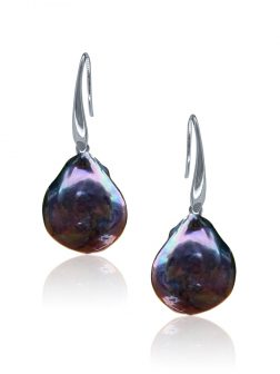 SUNSHINE COAST COLLECTION Black Coin Pearl Earrings in 18K White Gold