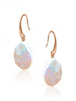 SUNSHINE COAST COLLECTION White Coin Pearl Earrings in 18K Rose Gold