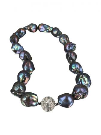PACIFIC PEARLS POLYNESIA COLLECTION Black 15-20mm Giant Baroque Pearl Necklace