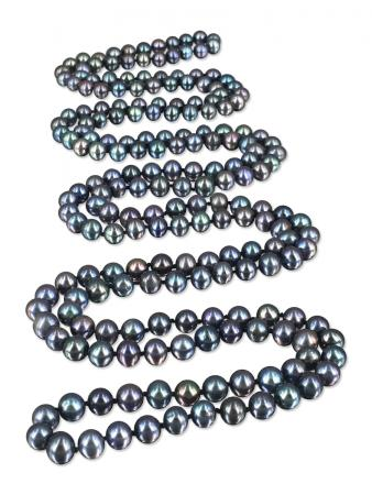 PACIFIC PEARLS SOCIETY ISLANDS COLLECTION Peacock Dreams 54 Inch Pearl Necklace