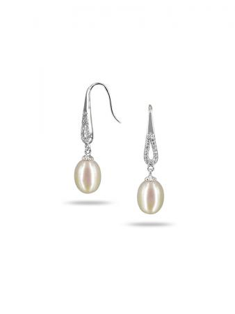 PACIFIC PEARLS TERAINA COVE COLLECTION White Diamond Drop Pearl Earrings