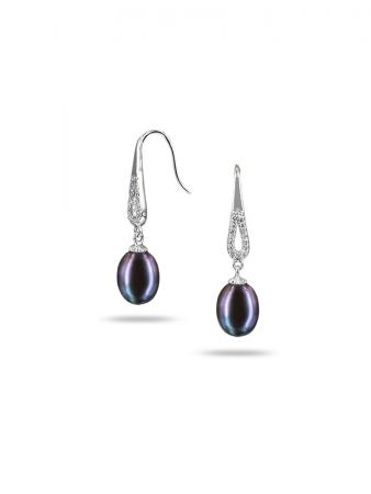 PACIFIC PEARLS TERAINA-COVE-COLLECTION-Black-Diamond-Drop-Pearl-Earrings