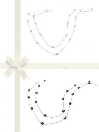 TERAINA COVE COLLECTION Black & White Pearl Necklace Gift Set