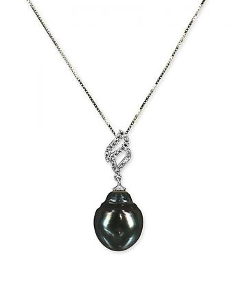 PACIFIC PEARLS TAHITIAN COLLECTION Candlelight 13-14mm Tahitian Baroque Pearl Pendant