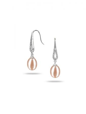 PACIFIC PEARLS TERAINA COVE COLLECTION Pink Diamond Drop Pearl Earrings