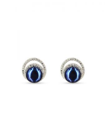 PACIFIC PEARLS TARA ISLAND COLLECTION Celeste Diamond Encrusted Black Pearl Earrings