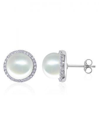 ROSE ATOLL COLLECTION Evermore Diamond Encrusted White Pearl Earrings C