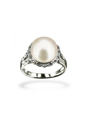PACIFIC PEARLS BORA BORA COLLECTION Coronet Diamond Encrusted White Pearl Ring