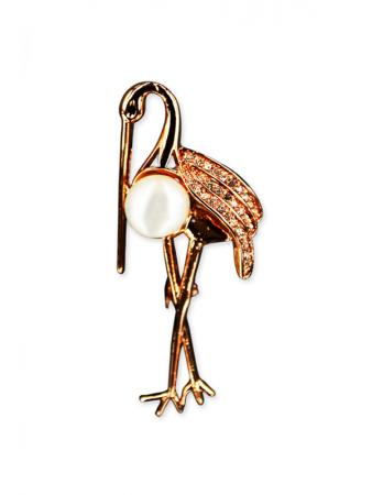 PACIFIC PEARLS VANUATU COLLECTION Stork Diamond Encrusted Pearl Brooch