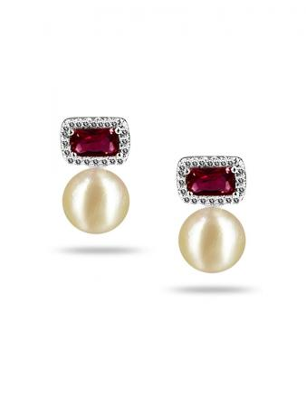 PACIFIC PEARLS NEW CALEDONIA COLLECTION Belle of the Ball Diamond Encrusted Pearl Earrings
