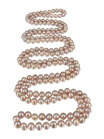 PACIFIC PEARLS SOCIETY ISLANDS COLLECTION Pink Lemonade 54 Inch Pearl Necklace