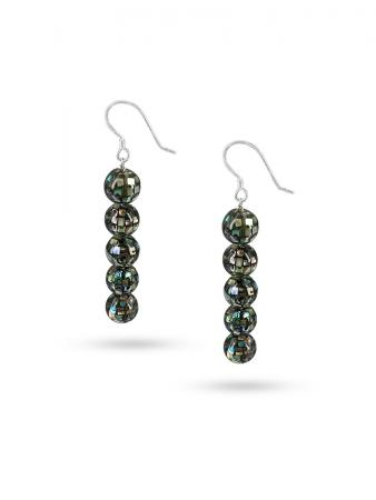 PACIFIC PEARLS NEW ZEALAND ABALONE COLLECTION Retro Disco Ball Abalone Statement Earrings