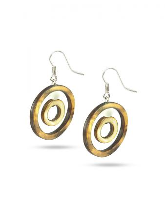 PACIFIC PEARLS TREASURE ISLAND COLLECTION Autumn Breeze Hula Hoop Mother-of-Pearl Earrings