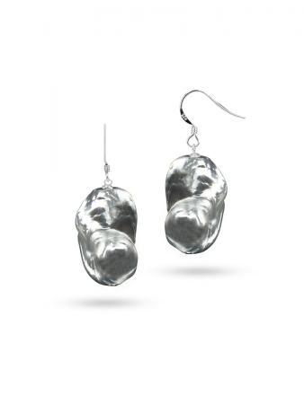 PACIFIC PEARLS POLYNESIA COLLECTION Metallic Gray 20mm Giant Baroque Pearl Earrings on 18K White Gold