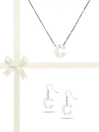 "PACIFIC PEARLS OYSTER BAY COLLECTION Letter ""C"" Mother-of-Pearl Pendant & Earring Gift Set"