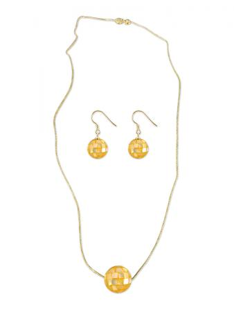 PACIFIC PEARLS SOUTH SEA COLLECTION 12mm Golden South Sea Mother-of-Pearl Pendant & Earring Set