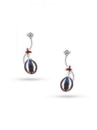PACIFIC PEARLS NOUVELLE-CALÉDONIE COLLECTION Queen Butterfly Black Pearl Earrings