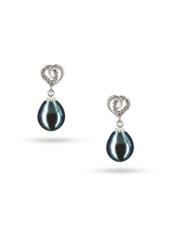 PACIFIC PEARLS ALOHA COLLECTION Juliet Diamond Encrusted Black Pearl Earrings