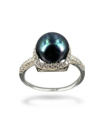 PACIFIC PEARLS BORA BORA COLLECTION Square Dance Diamond Encrusted Black Pearl Ring