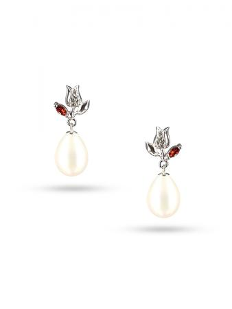 PACIFIC PEARLS ROSE ATOLL COLLECTION Tudor Rose 10-11mm White Pearl Earrings