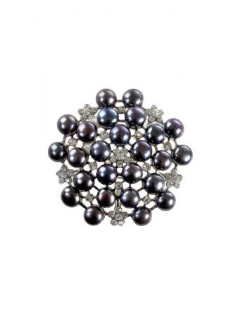 TARA ISLAND COLLECTION Diamond Encrusted Black Pearl Brooch