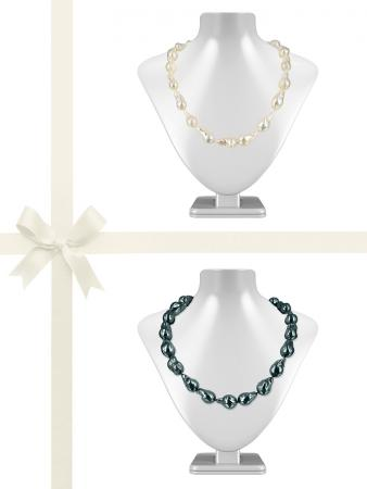 POLYNESIA COLLECTION 10-15mm Black & White Baroque Pearl Necklace Gift Set A