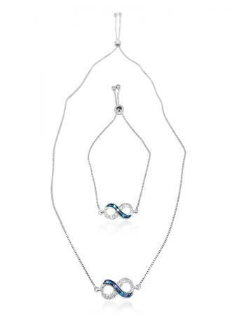TERAINA COVE COLLECTION Infinity 18K White Gold Filled Sliding Pendant & Bracelet Set