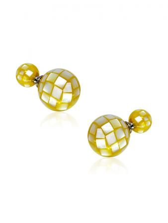 SOUTH SEA COLLECTION Golden Faceted Mother-of-Pearl Reversible Stud Earrings