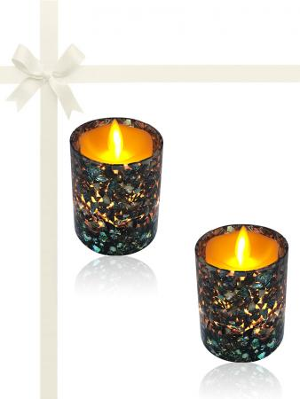 ROYAL FALLS COLLECTION Abalone Gift Set of 2 Votive Holders with 150+ Hour Flameless Candles