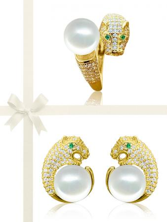 TARA ISLAND COLLECTION Wild Cougar Brilliant-Cut Diamond Encrusted White Pearl Ring & Earring Gift Set