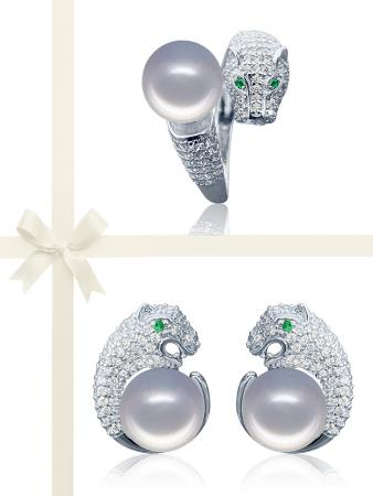 TARA ISLAND COLLECTION Wild Cougar Brilliant-Cut Diamond Encrusted Gray Pearl Ring & Earring Gift Set